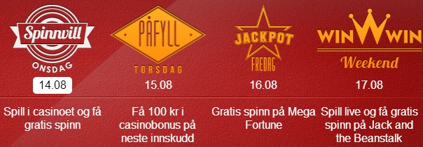 Free spins 14 August 2014