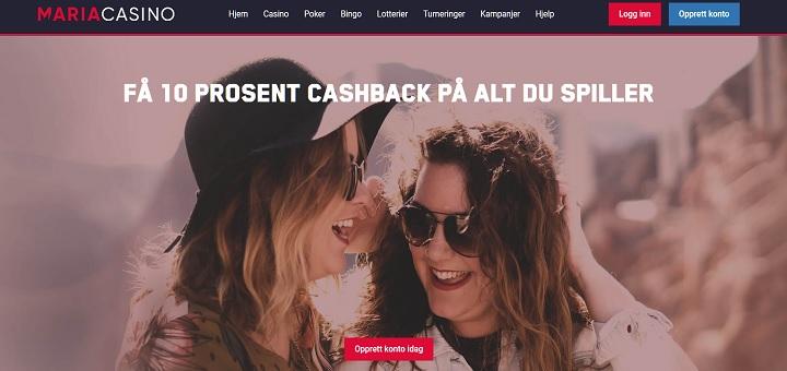 Få 10% cashback hver uke hos Maria Casino!