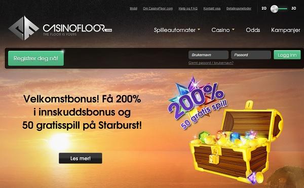 Casinofloor bonus og gratis spinn på Spilleautomater