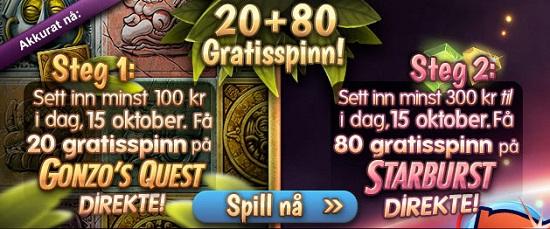 Gratis spinn 15 oktober 2013 på Spilleautomater