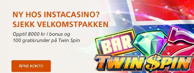 Instacasino 20 free spins og 8000 kr bonus på Spilleautomater