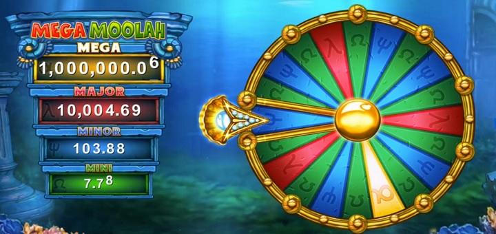 Vinn en av fire jackpotter i jackpothjulet på Atlantean Treasures: Mega Moolah