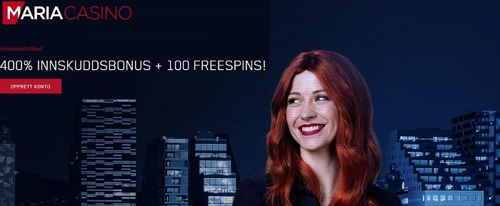 Maria Casino gir deg 400% bonus + 100 free spins