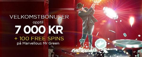Mr Green bonus 2015 på Spilleautomater