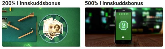Unibet bonus 100% opptil 1000 kr