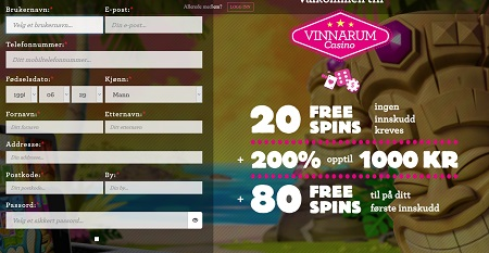 Vinnarum casino bonus på Spilleautomater
